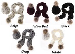 Wholesale Crochet Yarn Scarf - Winter Warm Women Fashion knitted Scarf and Hat Set Crochet Cap Beanie Ski Hat christmas gifts ZJ-76