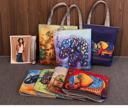 Wholesale Female Elephant - Cartoon Elephant Print Casual Tote Lady Canvas Beach Bag Female Handbag Large Capacity Daily Use Women Single Shoulder Shopping Bags