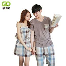 Wholesale Korean Sleepwear - Wholesale- GOPLUS New Korean Summer Cotton Couple Pajamas Set Short Lovers Pajamas Men & Women Sleepwear Leisure Home Wear Clothes C3271