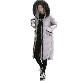 Wholesale Duck Collection - 2016 New Winter Collection Winter Jacket Women Slim Female Coat Thicken Parka Hooded Outerwear Fox Fur Collar S-XXL Black Gray