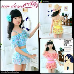 Wholesale Kids Floral Swimsuits - New Children's Floral Swimwear Baby Girls Two-pieces Swimsuit Girl Bathing Suits fashion Kids Swimwear