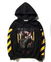 Wholesale Stripe Cardigan Men - 2016 OFF WHITE 13 mens pullover stripe offset print hoodies fleece Sweatshirts brand HBA Vision religion painting VIRGIL ABLOH