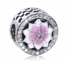 Wholesale New Mother Flowers - 2017 New Mother Day White Pink Cherry Flower Round Crystal Charm Fit For Pandora Bracelet DIY Bead Charm 925 Sterling Silver Jewelry