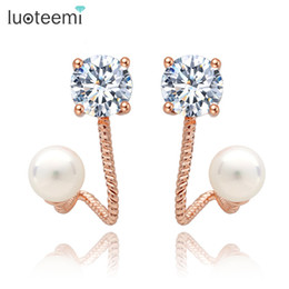 Wholesale Jewelry Korea Free Shipping - LUOTEEMI Korea Fashion Trendy Double Imitation Pearl CZ Stone Dangle Stud Earrings For Girls Women Crystal Jewelry Free Shipping