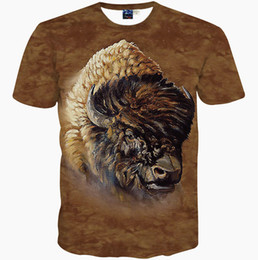 Wholesale T Ox - Cool buffalo T shirt Wild ox short sleeve gown Quality leisure tees Street printing clothing Unisex cotton Tshirt