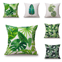 Wholesale New Hotel Knitting - Wholesale- New Green Tropical Plant Tree Leaves Pillow Cover Fresh Throw Pillow Case Home Hotel Usage