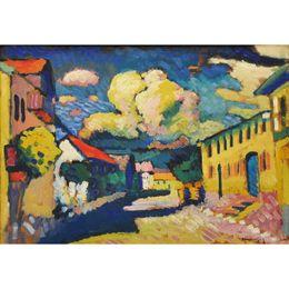 Dipinti di villaggio online-dipinti astratti moderni colorati Wassily Kandinsky Murnau, Dorfstrasse (Strada a Murnau, A Village Street) olio su tela fatto a mano Alta qu