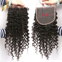 """Wholesale Free Hair Dyes - 10A Deep CURLY CLOSURE 5*5 inch Lace Closure 12""""14""""16"""" Brazilian Peruvian Indian Malaysian Curly Wave Human Hair Can be dyed"""