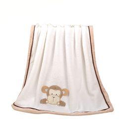 Wholesale Monkey Bedding - Super Soft Fleece Baby Blanket Infant Crib Bedding Cartoon Monkey Rabbit Bear Blanket Newborn Gift 76*102cm Coral Fleece Blanket