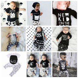 Wholesale Light Purple Wholesale T Shirts - Kids Ins Clothing Sets Ins Outfits Toddler Fashion Top T-shirts Pants Infant Casual Suits Ins Baby Romper Kids Clothing 22 Desiigns G343