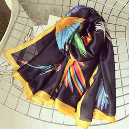 Wholesale Cartoon Shawl - Women Silk Scarf Bright Bird Cartoon Long Shawl Smooth Summer Wrap Hot Banada New [1830]