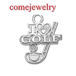 Wholesale Golf Charms Jewelry - Best Selling Fashion Metal Zinc Alloy I Love Golf Letter Charms Sport Jewelry