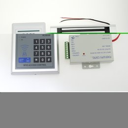 Atacado-Full Rfid Door Lock Kit de teclado de controle de acesso + Bloqueio elétrico magnético + Botão Power + cheap rfid magnetic door locks de Fornecedores de fechaduras magnéticas da porta magnética