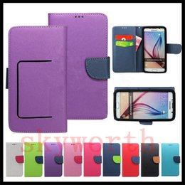 Wholesale Back Flip Phone - Universal Wallet PU Flip Leather Case Credit card back Cover For 3.5 to 5.7inch Cell Phone Mobile Phone