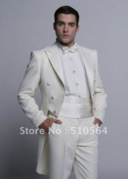 Wholesale White Tail Coat Suit - Wholesale- Wholesale Free shipping White Groom swallowtail suit Wedding Groomsman swallow-tailed coat Men Bridegroom Suits