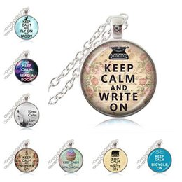 Wholesale Words Circle Pendant - Keep Calm and Write On Pendant, Writer's Necklace,Quote Jewelry,Motivational Pendant,Inspirational Word Necklace,Glass Cabochon Pendant