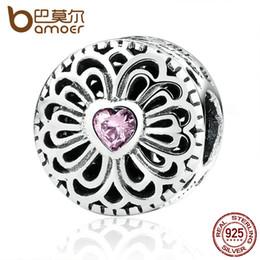 Pandora amor rosa cz online-Pandora Style Hot Sale 925 Sterling Silver Love Friendship, Pink CZ Beads Fit Charms Pulseras Joyería de moda PAS377