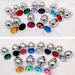 Wholesale Jeweled Anal - Unisex Butt Toys Plug Anal Silver Insert Stainless Steel Metal Plated Jeweled Sexy Stopper Anal toys For Women 3006007