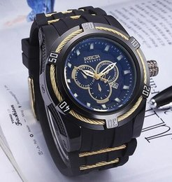 Wholesale Mens Watch Invicta - INVICTA invicta invicta Top Quality 52mm Big Dials Luxury Styles Mens blue Watches Quartz Watch Material Silicone Straps