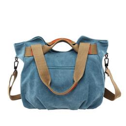 Wholesale Vintage Handbags Hobo - Fashion Women's Casual Vintage Hobo Canvas Bags Daily Purse Top Handle Shoulder Tote Bag Ladies Designer Shopper Soft Purses Handbags