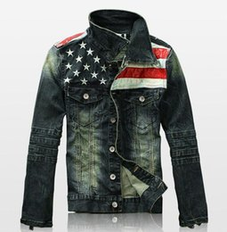 Wholesale Vintage Denim Jackets For Men - new spring autumn denim jacket for men vintage American flag bomber jackets coat jaqueta masculino casaco masculino