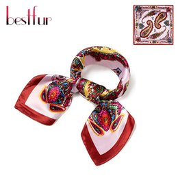 Wholesale Cheap Red Scarves - Wholesale-60x60cm Twill Silk Scarf Fashion Brand Large Square Geometric Scarves 2016 High Quality Cheap Women Hijab Shawl Adult Hot Sale