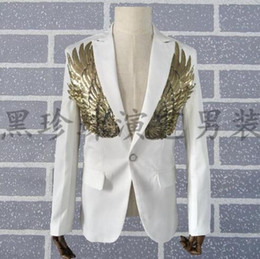 Wholesale Dance Suit Men - men gold sequin suits designs homme terno stage costumes personalized singers men blazer dance clothes jacket dress punk white