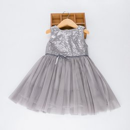 Wholesale Kids Evening Clothes - 2017 Kids Sequins Clothing Boutique Summer Tulle Party Evening Dresses For Girls Fashion Childrens Bow Pink Gray Princess Dress
