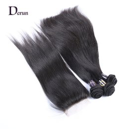 """Wholesale Hair Extensions Indian 1pcs - Indian Virgin Human Hairt 3 Bundles And 1pcs Lace Closure(4""""x4"""") Straight For a Full Head Hair Extension Free Shipping!"""