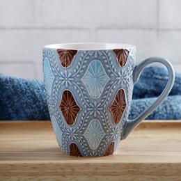 copos de café natal atacado Desconto Atacado-presente de Natal Mar Mediterrâneo Cameo Azul canecas de cerâmica copos com handgrip porcelana drinkware caneca de café caneca de leite copo 400 ML