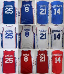 Wholesale Color Blue Jersey Basketball - Cheap 25 Ben Simmons Jersey Men 8 Jahlil Okafor 21 Joel Embiid Basketball Jerseys 14 Sergio Rodriguez Embroidery Color Team Red Blue White