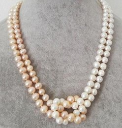 Argentina AAA Fashion Women's 2 Filas 9-10mm WhitePink Akoya Pearl Necklace 18