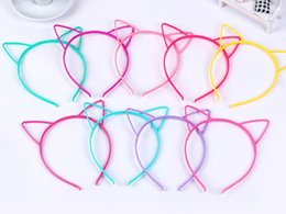 Wholesale Hair Band Ear Cat - 10 Mixed Color Plastic Cat Ear Hair Tiara Princess Headband Hair band With Teeth