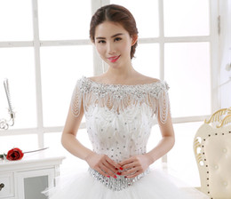Wholesale Off Shoulder Lace Shawl - Real picture 2017 luxury shoulder chain handmade rhinestone beading bridal wraps off shoulder lace jacket wedding shawls