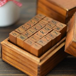 Wholesale Rubber Stamps Sets For Kids - 28pcs sets English alphabet rubber stamp for Kids DIY Handmade Scrapbook Photo Album Stamps Arts,Crafts gifts wooden box suit