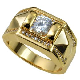 Wholesale 18k Austrian Crystal Ring - New Men 18k Gold Filled Austrian crystals Size 8-15 Ring jewelry r245