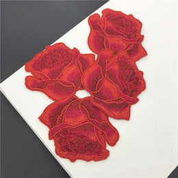 Wholesale Iron Fabric Flowers - 20pcs Iron On Patch For Clothing Rose Flower Jacket Patches parches Embroidered Wedding Dress Decor Fabric Patchwork Stage Badge Appliqued