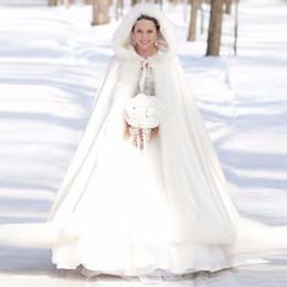 2019 weißes pelzkleid Elegante Günstige 2017 Warm Braut Cape Elfenbein Weiß Winter Pelzmantel Frauen Hochzeit Bolero Braut Mäntel Plus Größe Hochzeit Mantel