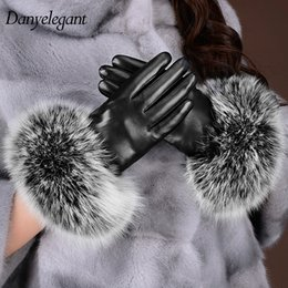 Wholesale Thermal Bamboo - Wholesale- 2017 New Arrival Sheepskin Gloves Women's Winter Thickening Thermal Fox Fur Genuine Leather Touch Screen Gloves