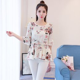 Wholesale Ladies Tops Butterfly Sleeve - 2017 White Ruffles Women Tops Slim Fit Shirt Large Size Floral Butterfly Sleeve Ladies Chiffon Shirts Female Top Peplum Blouse