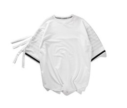 Wholesale Wholesale High Street Clothing - High Street Fashion Summer Trend Pure Cotton Men's T-shirt Thin Double Classic Spell Stripe Sleeve Round Collar Sleeve High Quality Clothing