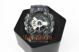 Wholesale plastic lines - #25 black with lines GA110 Top quality relogio men's sports watches,Luxury brand men LED chronograph wristwatch,all pointers work auto light