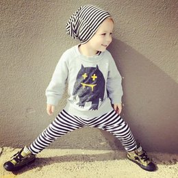 Wholesale Baby Boy Trouser Grey - Baby Toddler Spring Cotton Striped Long Shirts+ Harem Pants Girl Boy Grey Print Tops Tees Loose Trousers Suits Children Kids Clothing Sets