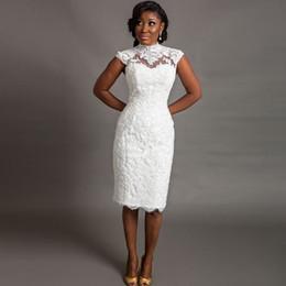 Wholesale corset wedding dress sheath - 2016 Corset High Neck Lace Wedding Dresses Vintage Sheer Neck Knee Length Wedding Dress Floral Appliques Cap Sleeve African Wedding Gown