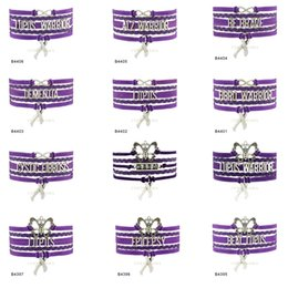 Wholesale Silver Gift Wrap Ribbon - Custom-Infinity Love Butterfly Lupus Warrior Awareness Ribbon Charm Multilayer Wrap Bracelets Gift for Lupus Fighters Purple Suede Leather