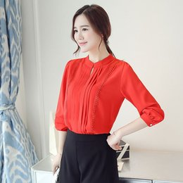 Wholesale Ladies Formal White Tops - Ladies Office Shirts Long Sleeve Red White Hollow Out Lace Chiffon Women Blouses Fashion Tops Chemise Femme