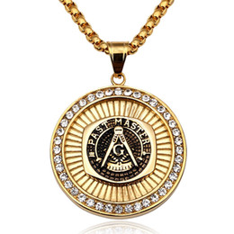 Wholesale Mens Black Stainless Steel Chain - Masonic Pendant Necklace Men Hip Hop Jewelry Gold Plated Chain Rock Rap Freemason Necklace Mens jewellery Cool Gift