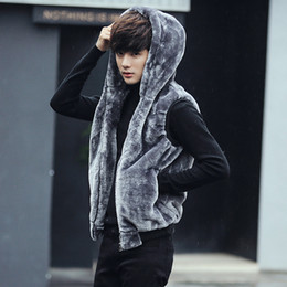 Wholesale winter jackets america europe - Wholesale- Europe and america style winter thicken hooded casual fur vest men mens jacket sleeveless veste chaleco hombre size m-5xl MJ7