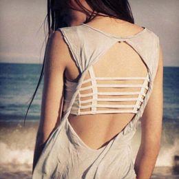 Vestes noires pour femmes en Ligne-Femmes Sexy Bralette Caged Back Cut Out Strappy Rembourré Soutien-Gorge Bralet Vest Crop Top Noir / Blanc Livraison Gratuite