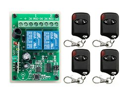 Wholesale Rf Control Systems - Wholesale- NEW DC12V 2CH RF Remote Control Switch System teleswitch 4 X Transmitter + 1 X Receiver 2ch relay smart home z-wave 315 433 MHZ